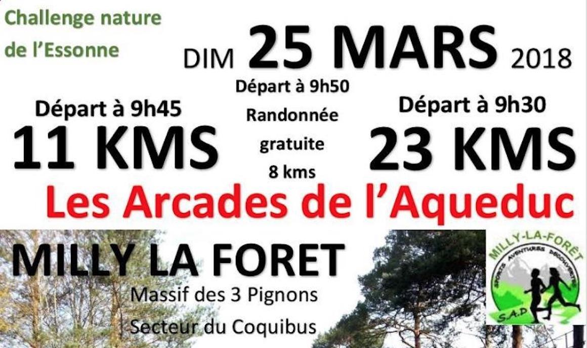 course, compétition, randonnée, arcades, aqueduc, milly, foret