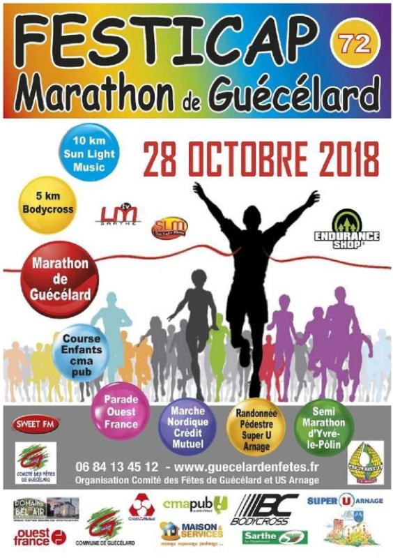 Marathon, Guecelard, 2018, course